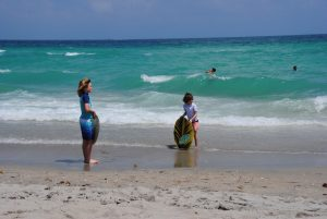 Boogie boarding on Hollywood Beach