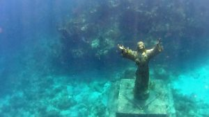 Christ of the Abyss statue underwater