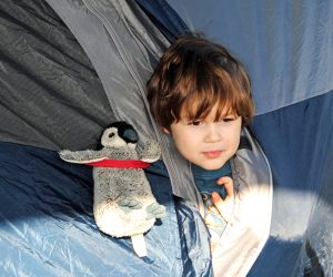 Tent camping with kids -- and their toys