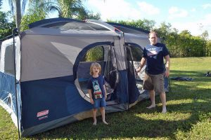 Buying a camping tent? Whatever number of people it claims to hold, cut that number in half to get a realistic view of how many people can comfortably sleep inside.