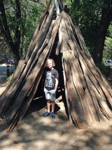 Every Kid in a Park got our family free entry to Yosemite National Park. Here's our 4th-grader in Yosemite Village.