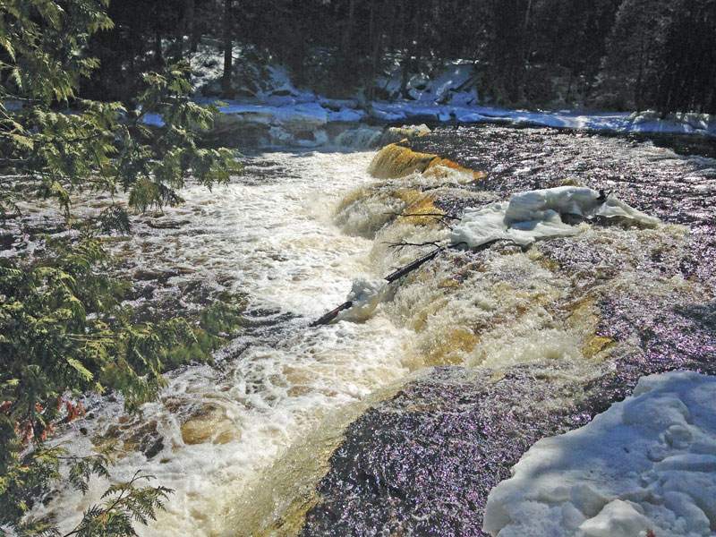Tahquamenon Falls State Park can still be snow in the spring